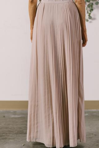 ... simone beige pleated maxi skirt SUXDLCW