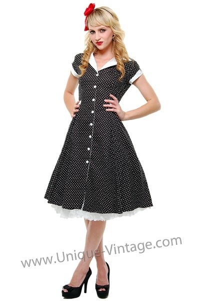 1940s style dresses 1940u0027s style black u0026 white polka dot dress, by lillian VAWIQEM