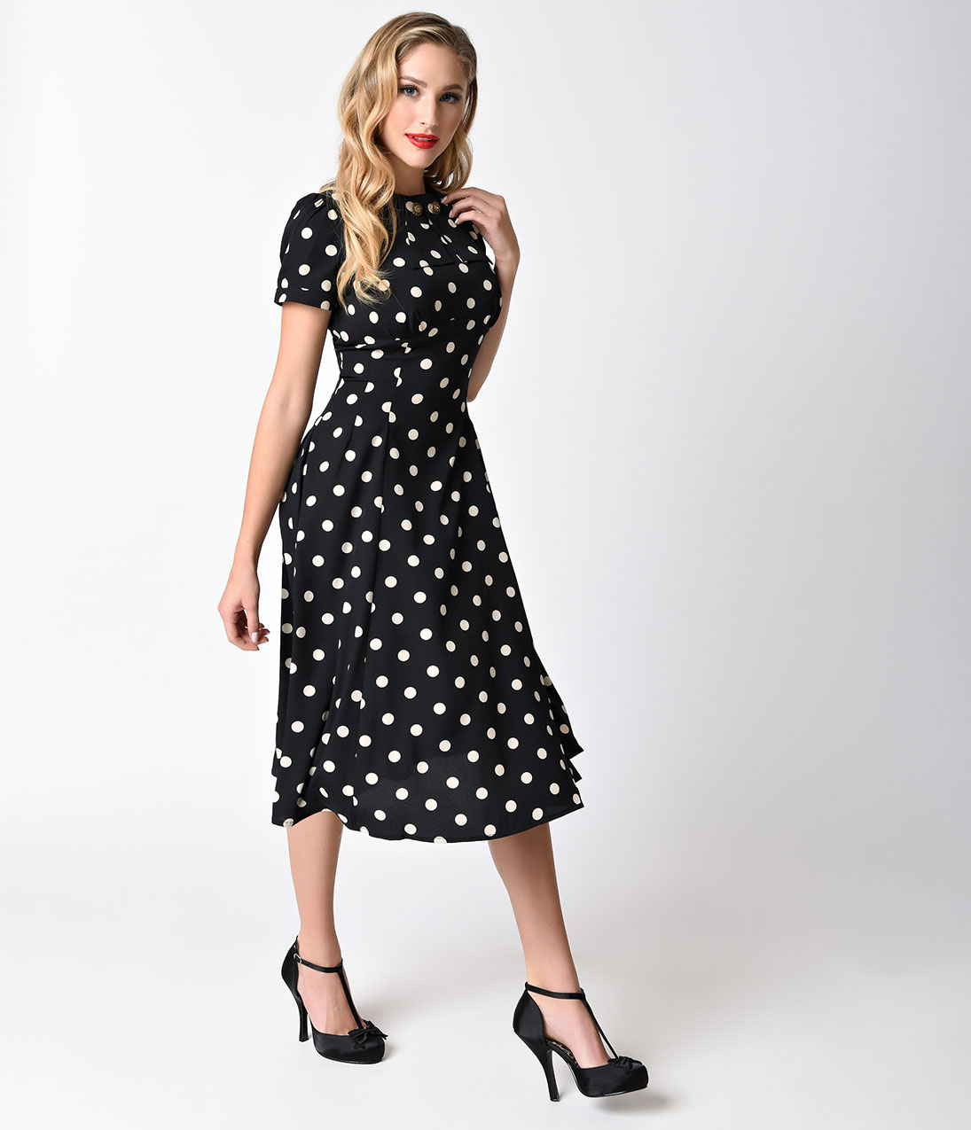 1940s style dresses and clothing polka dot madden swing dress size xl  $72.00 PJOZPMV
