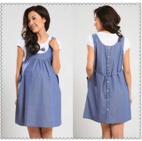 2014 plus size xxl maternity wear faux 2 piece summer cotton one-piece dress SHALEJP