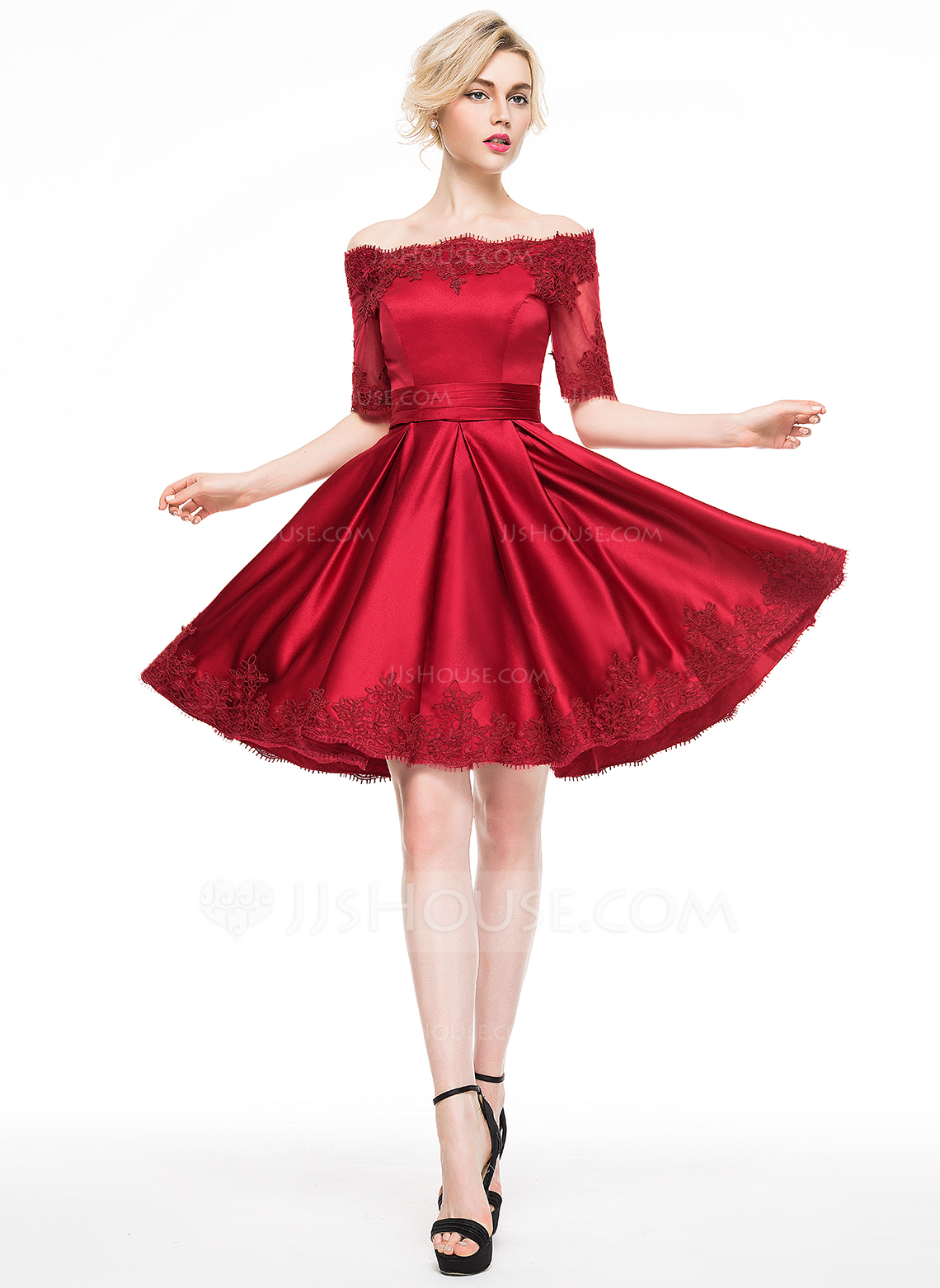 a-line/princess off-the-shoulder knee-length satin cocktail dress. loading  zoom DIVRXEU