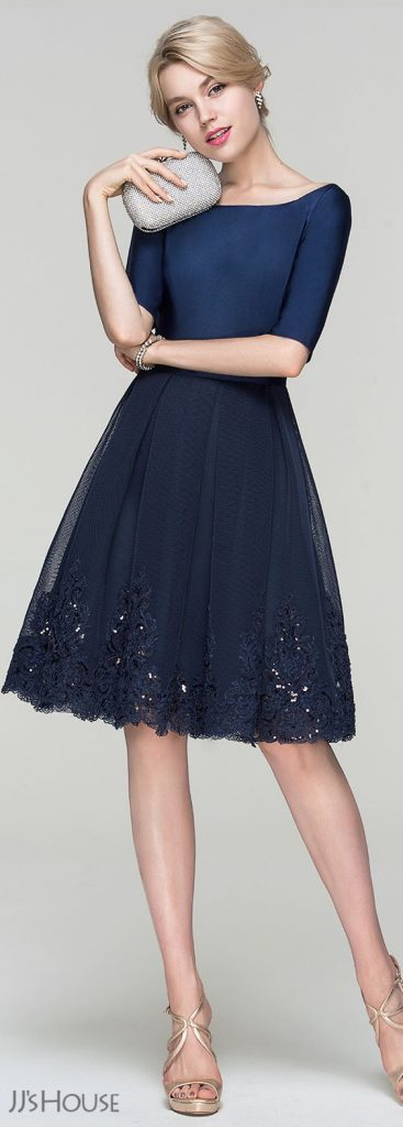 a-line/princess scoop neck knee-length tulle cocktail dress with sequins  (016094366) TDLVIOG