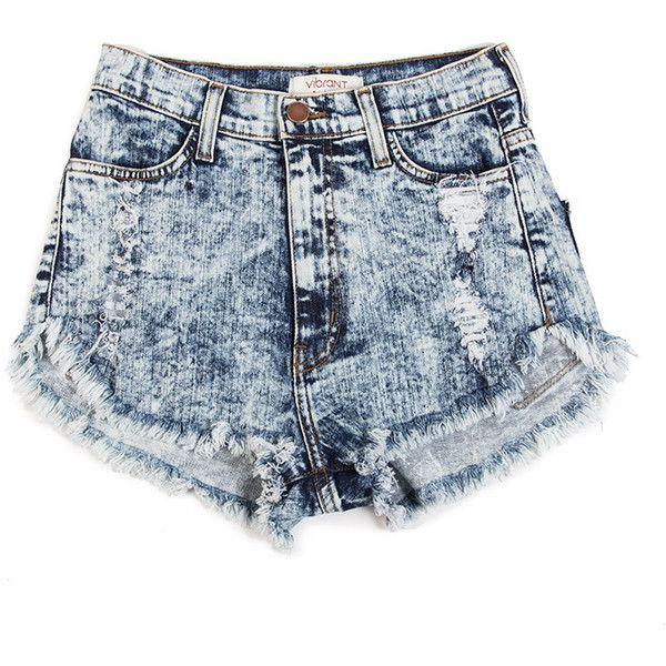 acid wash shorts high rise acid washed shorts - 2020ave (45 cad) ❤ liked on polyvore ZBNLEES