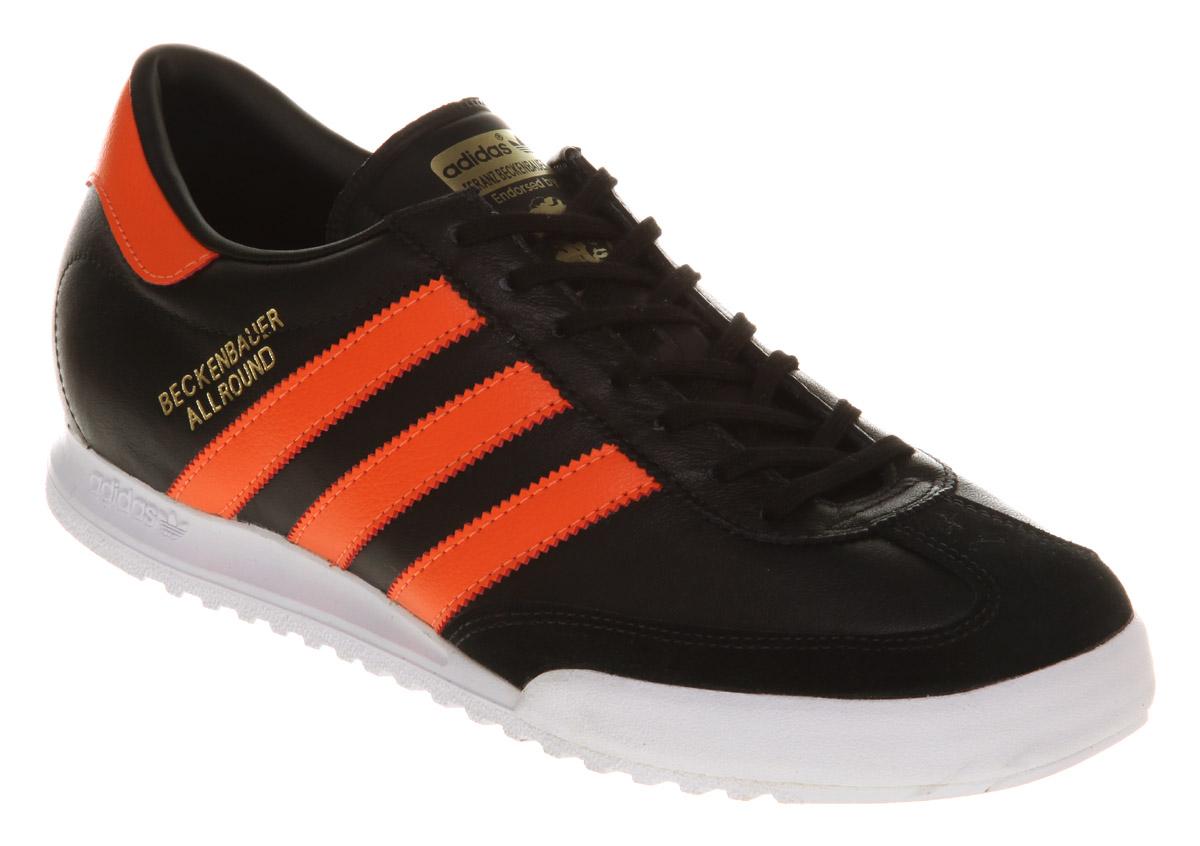 adidas beckenbauer allround image is loading mens-adidas-beckenbauer-allround-black-orange-trainers CZTBGLU