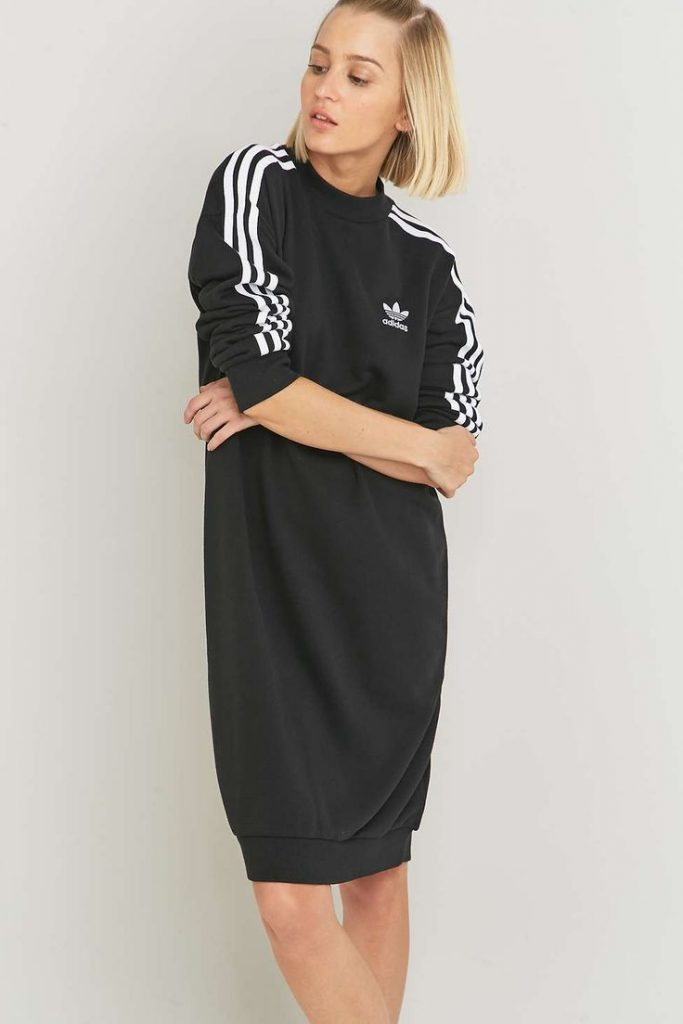 adidas dress adidas originals 3-stripe black midi dress OLGEFSD