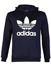 adidas jumper mens navy blue/white adidas originals trefoil logo hooded sweatshirt jumper  hoodie top size VINHDSP