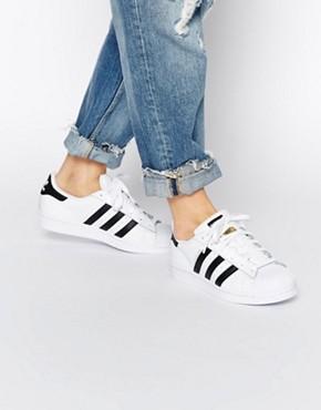 adidas shoes for women adidas originals unisex superstar white u0026 black sneakers FLACLOW