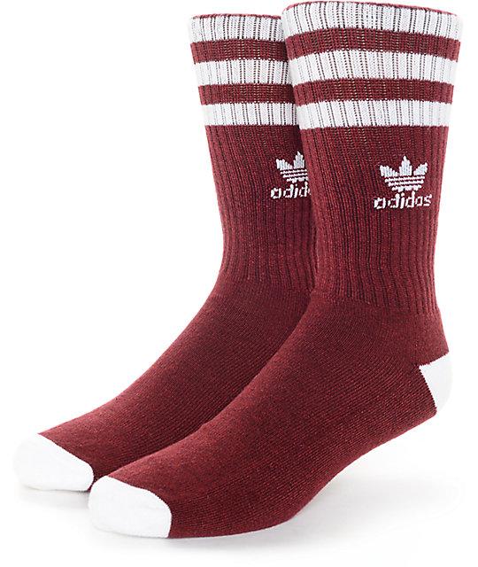 adidas socks adidas originals roller burgundy u0026 white crew socks WALJPNV