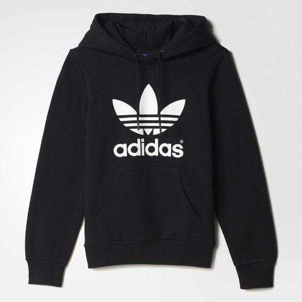 adidas sweater adidas trefoil hoodie ($65) ❤ liked on polyvore featuring tops, hoodies,  sweaters NNZOTJT