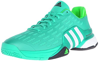 adidas tennis shoes adidas menu0027s barricade 2016 boost tennis shoes, shock mint/white/sollim, 7.5 ASXODFO