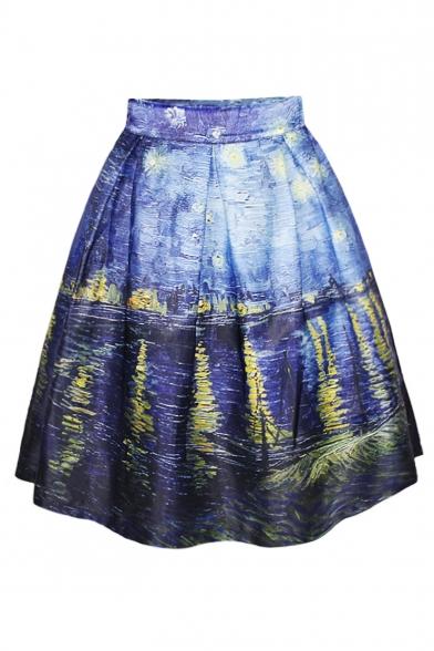 aline skirt blue oil painting print flare a-line skirt CNRBZBS