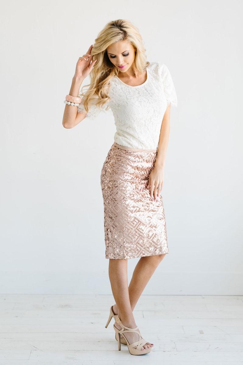 all over rose gold sequin skirt, vintage dress, church dresses, modest skirt , FUKMDPT