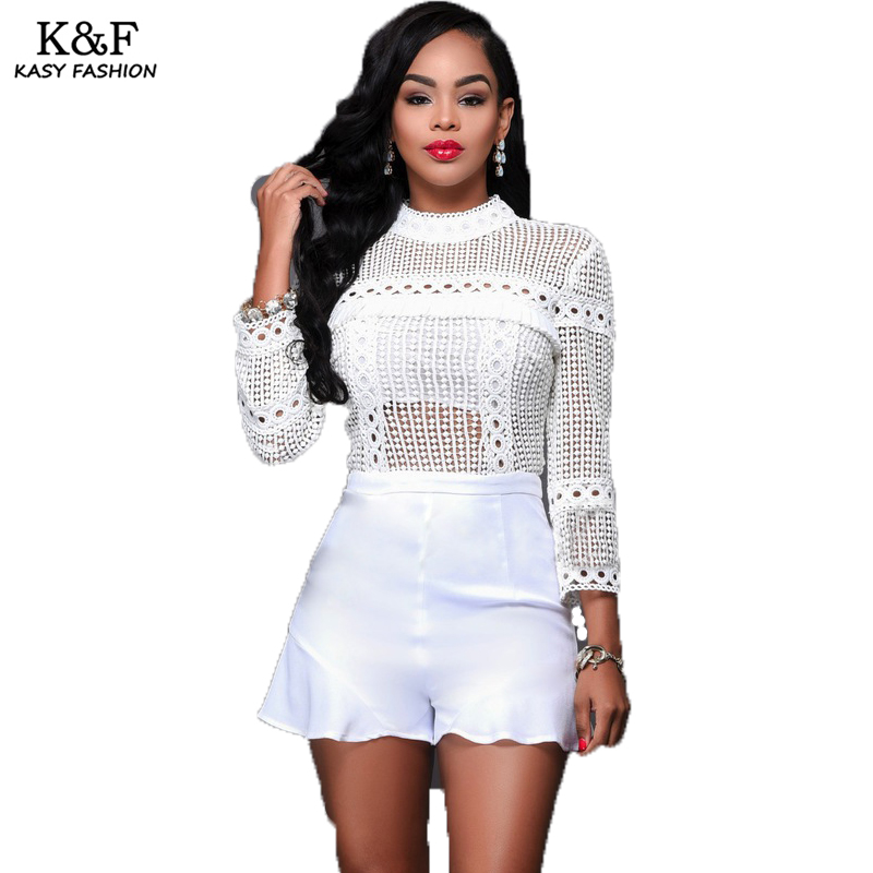all white romper ladies long sleeved turtleneck short summer playsuits 2017 hollow out eye  hole designer TEOCBRN