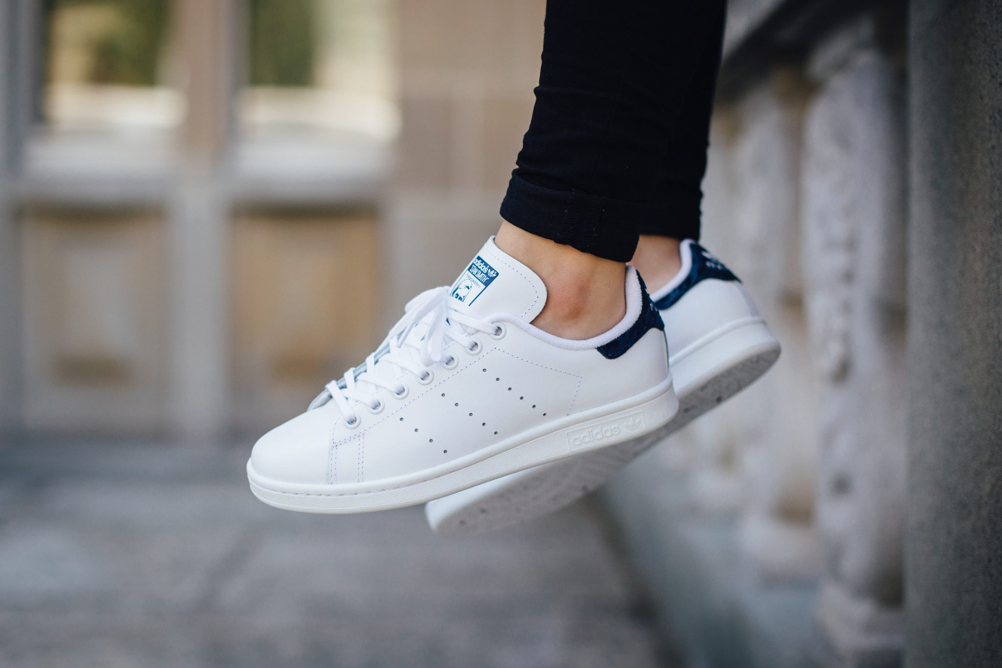 another pristine variation: adidas originals stan smith - white / night  indigo SQKIXBE