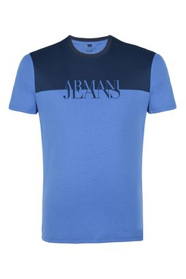 armani t shirt armani t-shirt men two tone cotton jersey crew neck t-shirt OKSWONH
