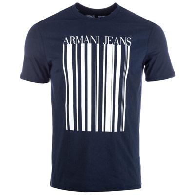 armani t shirt ... mens barcode print cotton crew neck t-shirt WRZZCQO