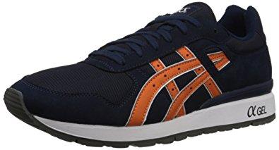 asics gt ii retro running shoe, navy/orange, 4 m us JTTISQD
