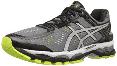 asics mens running shoes asics menu0027s gel kayano 22 running shoe, charcoal/silver/lime, ... HDIRWTG