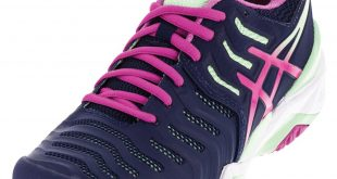 asics tennis shoes asics asics womenu0027s gel- resolution 7 tennis shoes indigo blue and pink glow PACPFUO