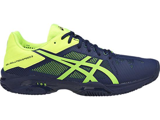 asics tennis shoes gel-solution speed 3 (herringbone outsole) | men | indigo blue/safety  yellow | asics ZEIGUSJ