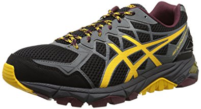 asics trabuco asics menu0027s gel fuji trabuco 4 neutral running shoe, black/spectra  yellow/royal LKRJDYY