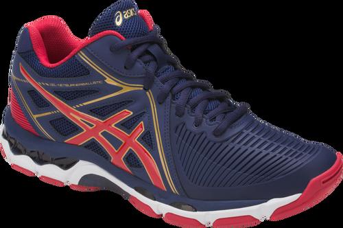 asics volleyball shoes asics menu0027s gel-netburner ballistic™ mt volleyball shoe (indigo blue/prime  red UYTUDFU