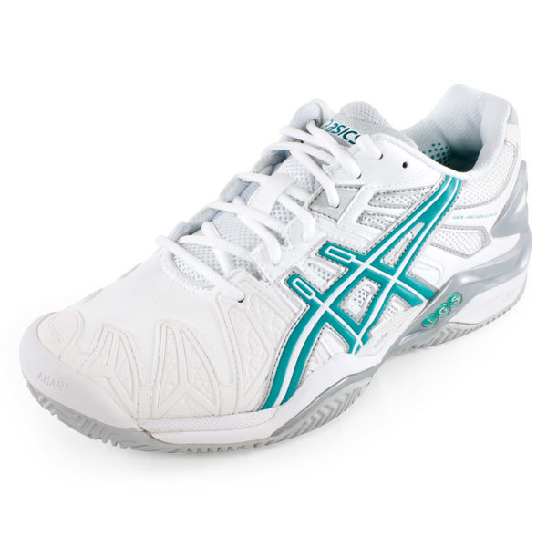 asics womens shoes asics asics womenu0027s gel- resolution 5 clay court tennis shoes white and  green UDYXNTX