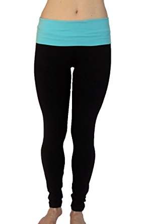 athletic leggings athletic cotton spandex leggings with fold down waist ( black-aqua ) EWPQUIM