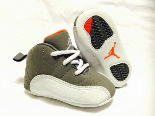 baby nike shoes retro nike air jordan 12 xii cool grey orange infant baby shoes sz 1c ANRZOZG