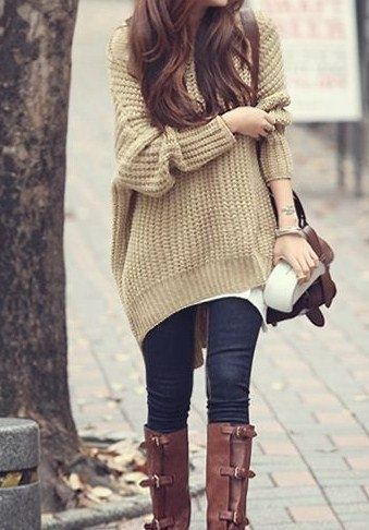 Carrying baggy styles this winter: baggy sweaters