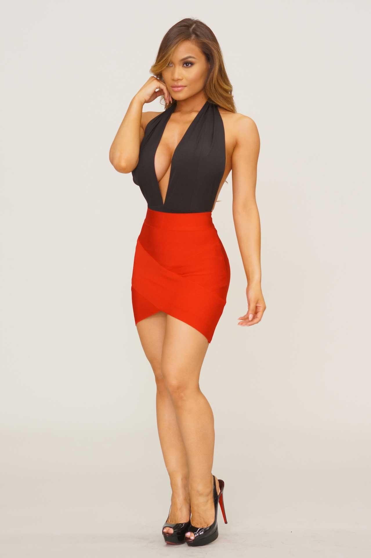 bandage skirts arched up bandage skirt - red TQQCXGQ