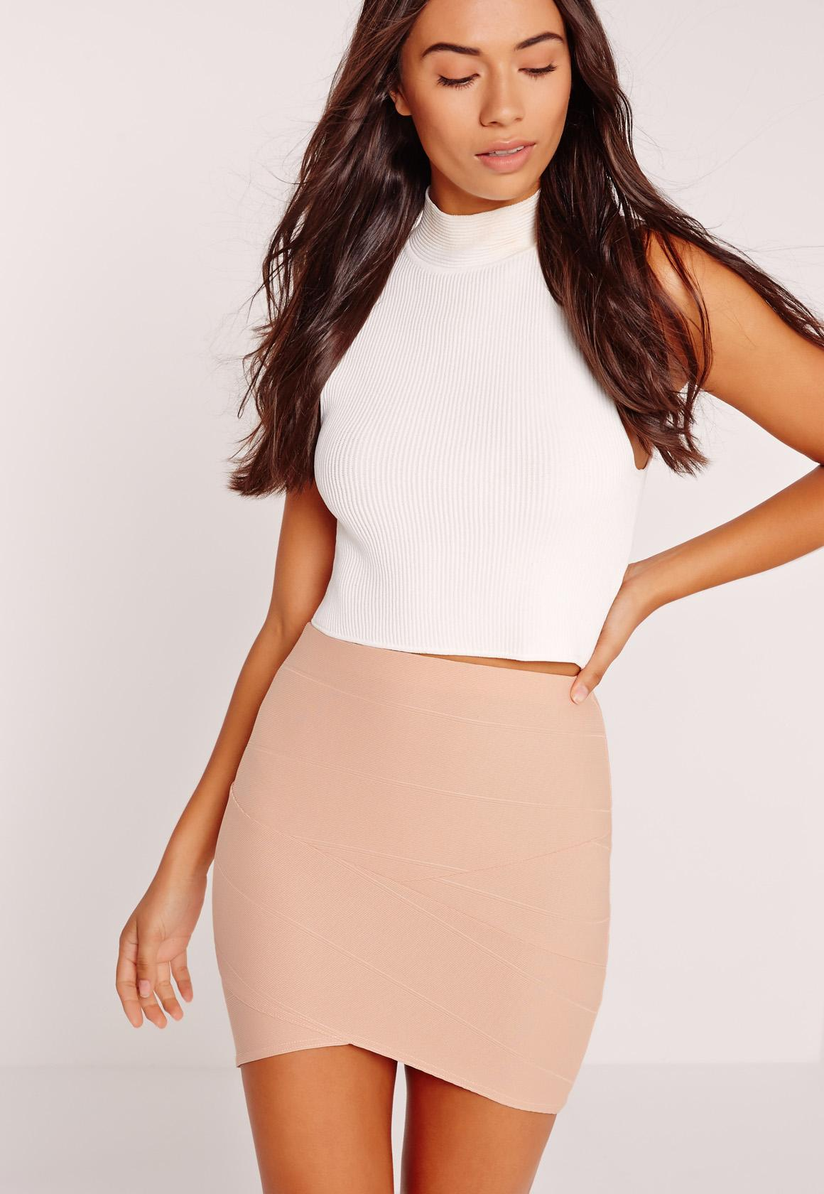 bandage skirts petite asymmetric bandage mini skirt nude ILAFLWH