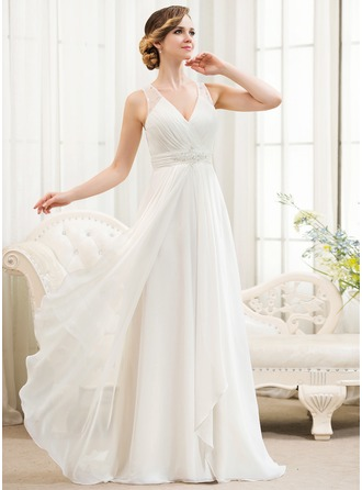 beach wedding dresses a-line/princess v-neck sweep train chiffon wedding dress with beading  sequins HCVNBOM