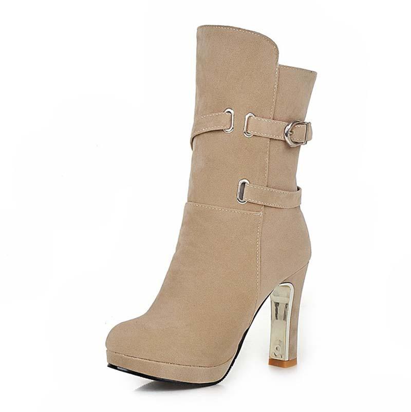 beige boots airfourwomen boots shoes new hot! flock mid-calf high boots warm beige  black light LKUXOBL