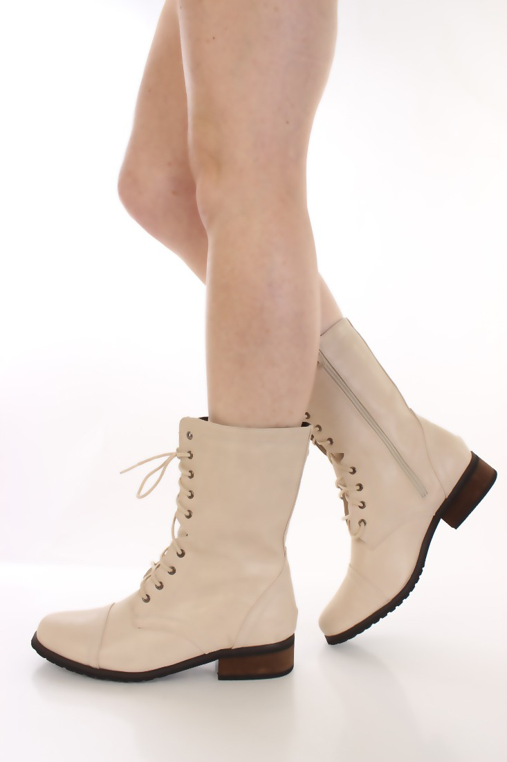 beige boots beige faux leather lace up combat boots boots catalog:womenu0027s winter boots,leather  thigh high EHNXVZV