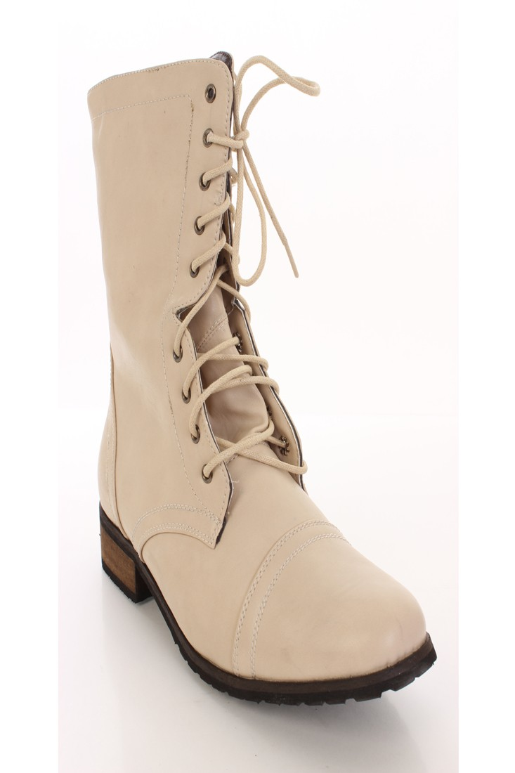 beige boots beige faux leather lace up combat boots DHJIEOE