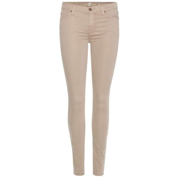 beige jeans 7 for all mankind the skinny sateen jeans ($225) ❤ liked on polyvore UBJHTVC