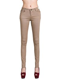 beige jeans womens stretch candy low waist pencil pants slim fit skinny jeans trousers HUFEBHN