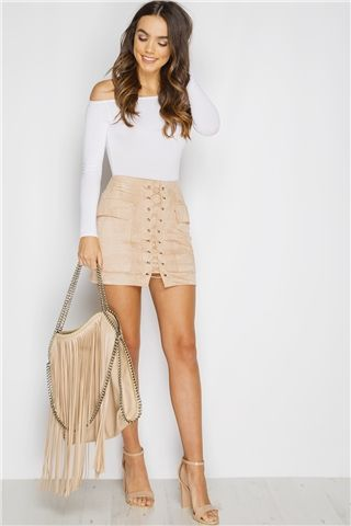 beige skirt miranda stone lace up suede mini skirt more DCYCFFP