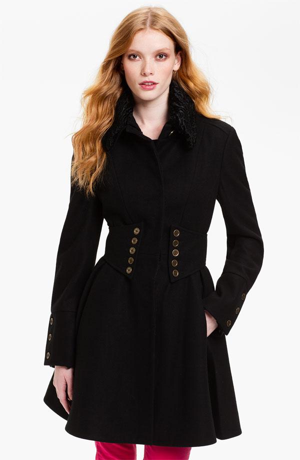 betsey johnson coats betsey johnson faux fur collar coat | nordstrom NVPKUIA