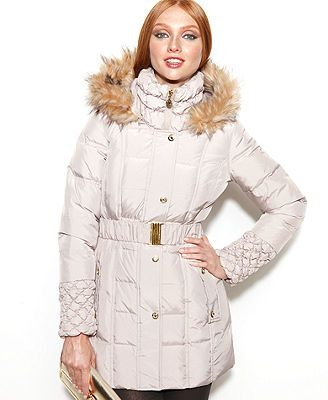 betsey johnson coats betsey johnson faux-fur-trim hooded quilted puffer coat UDDTTOG