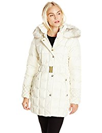 betsey johnson coats betsey johnson womenu0027s puffer coat with faux-fur hood SVCHMBX