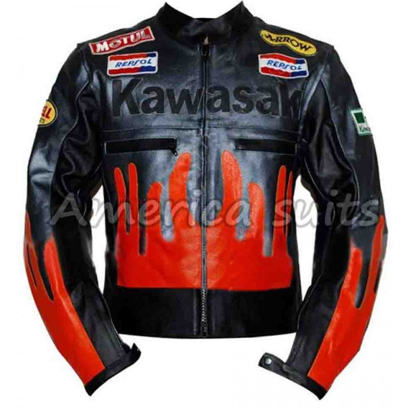 biker leather jackets kawasaki black biker leather jacket SJVINKF