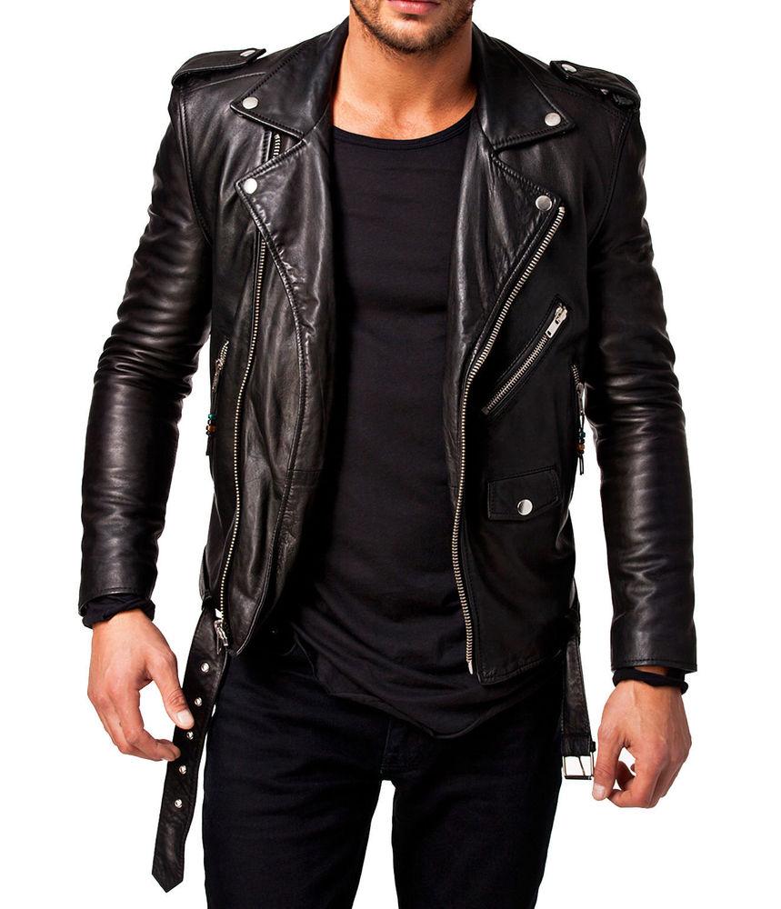 biker leather jackets men leather jacket stylish slim fit soft lambskin bomber biker jacket  -sl329 #handmade VOVWYRQ