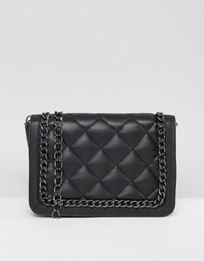 black bags asos quilted shoulder bag with chain handle CJBHKQE