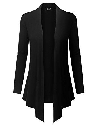 black Cardigan because i love you womenu0027s open front drape hem lightweight cardigan -  small XDWDZRH