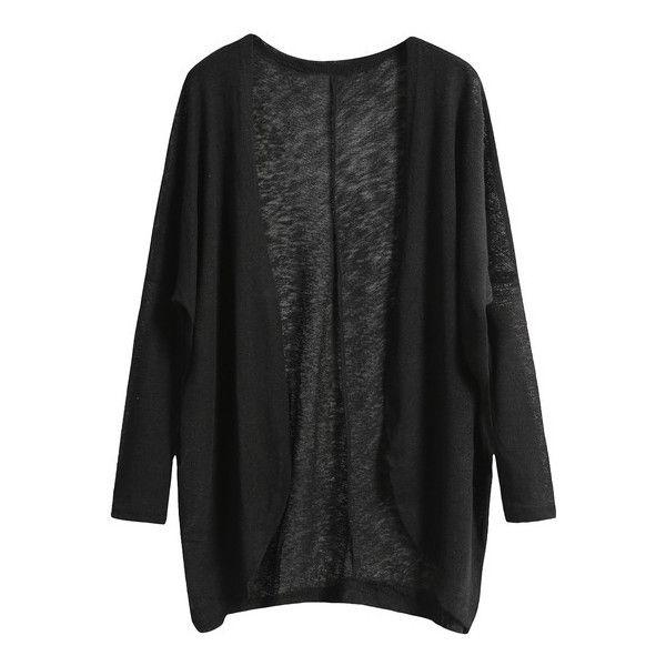 black Cardigan shein(sheinside) black long sleeve loose knit cardigan (16 aud) ❤ liked LWRBDNL