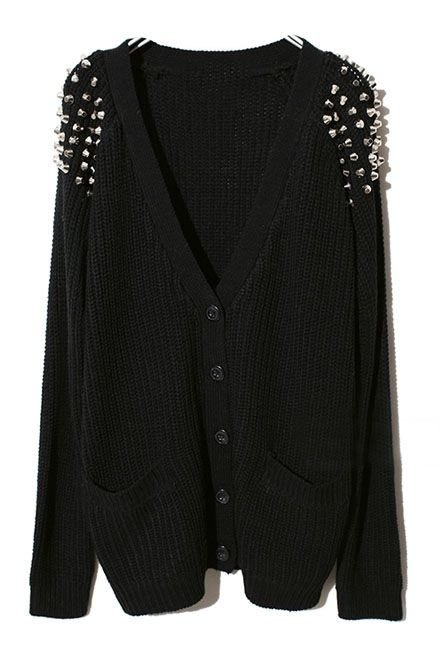 black Cardigan studded cardigan! a cool mix of styles VDTXCDK