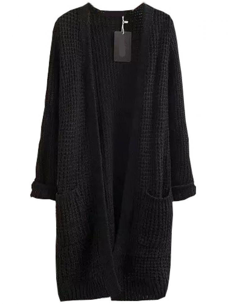 black Cardigan with pockets long black cardigan MRPLZZO