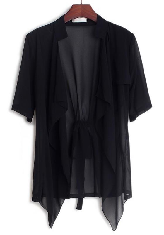 black cardigans black plain collarless half sleeve loose chiffon cardigans RDEMPVT